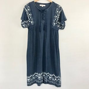 Embroidered cross front shift dress